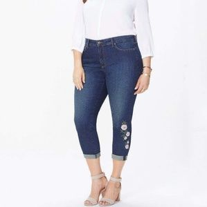 Nwt NYDJ Alina rolled cuff ankle jeans embroidered